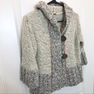 Free People Wool Gray Button Hoodie Size M